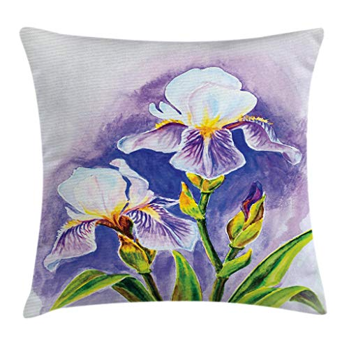(Ambesonne Watercolor Flower Throw Pillow Cushion Cover, Painting of Iris Flower Spring Season Blooming Plant Nature Art, Decorative Square Accent Pillow Case, 16 X 16 Inches, Violet Green Blue)