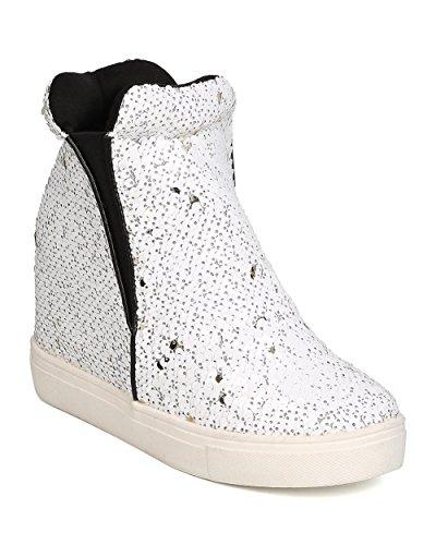 Cape Robbin Uneek-1 Women Sequin High Top Hidden Wedge Sneaker,White,6.5