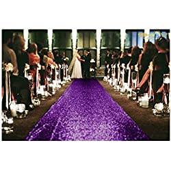 ShinyBeauty Aisle Runner Tape-Purple-4FTX15FT,Shimmer Sequin Fabric Wedding Floor Runner,Glitter Carpert Runner(Purple)