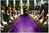 ShinyBeauty Wedding Aisle Runner-25FTX4FT-Purple,Sequin Aisles Floor Runner,Sequin Carpert Runner,Glitter Carpet Aisle Runner (purple)