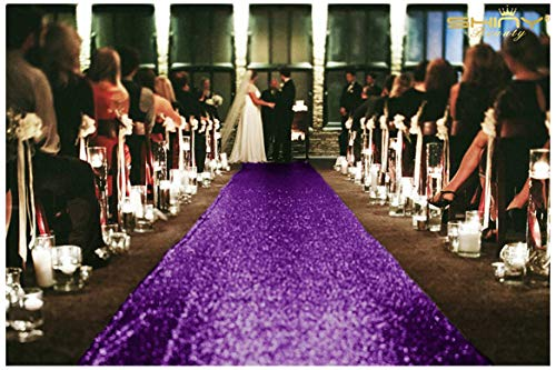 ShinyBeauty Aisle Runner Tape-Purple-4FTX15FT,Shimmer Sequin Fabric Wedding Floor Runner,Glitter Carpert Runner(Purple) ()