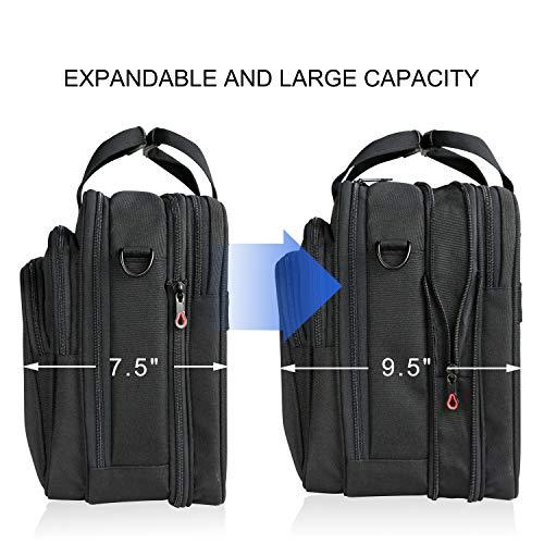 KROSER 18'' Laptop Bag Premium Laptop Briefcase Fits Up to 17.3 Inch Laptop Expandable Water-Repellent Shoulder Messenger Bag Computer Bag for Travel/Business/School/Men/Women-Black by KROSER (Image #1)