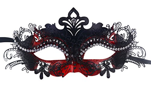 Masquerade Mask Shiny Metal Rhinestone Venetian Pretty Party Evening Prom Mask (Dark red + Black) (Halloween Club Masquerade Masks)