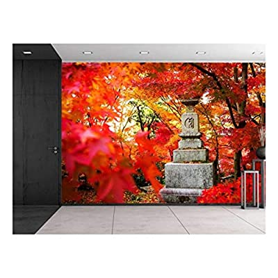 Japanese Statue on a Japanese Garden Wall Mural, Made With Top Quality, Fascinating Craft