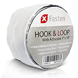 XFasten Adhesive Hook and Loop, Black, 1-Inch x 10-Foot Industrial Grade and Wear and Tear Resistant