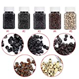 5 Bottle/Set 2500PCS Silicone Micro Link Rings 5mm Lined Beads for Hair Extensions Tool