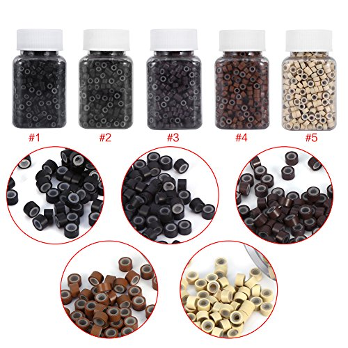 (5 Bottle/Set 2500PCS Silicone Micro Link Rings 5mm Lined Beads for Hair Extensions Tool )