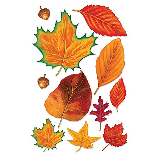 Club Pack of 264 Colorful Fall Thanksgiving Leaves and Acorn Cutout Decorations 12