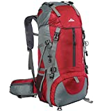 Seenlast 50L Unisex Travel Hiking Backpack Outdoor Sport Daypack Water-Resistant Bag with Rain Cover for Climbing Camping Touring Mountaineering(Red)