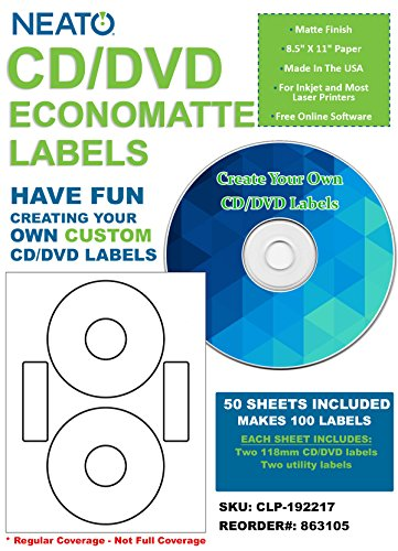 Neato CD/DVD Economatte Labels - 50 Sheets - Makes 100 Labels - Online Design Label Studio Included - Adhesive Made Specifically for CDs & DVDs