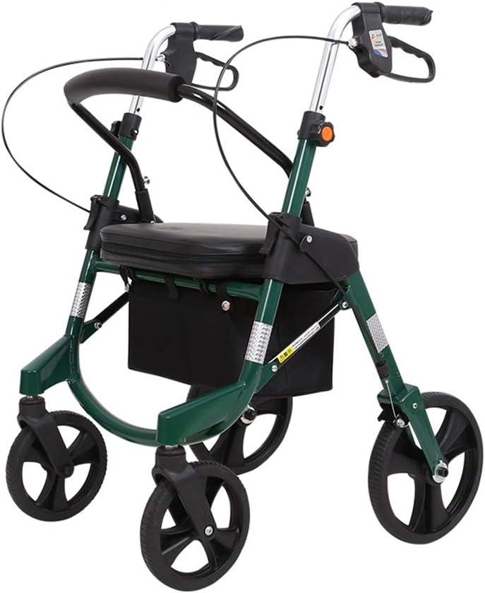 シルバーカー シートとフットレストと、携帯及び折り畳み可能な四輪歩行者、食料品の買い物、ショッピング、ショッピングのために使用することができます (Color : Green)