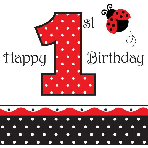 16-Count Paper Lunch Napkins, Ladybug Fancy Happy 1st Birthday for $<!--$1.99-->