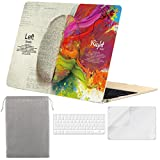 Sykiila - Compatible MacBook 12 inch Case Hard Cover 4 in 1 Folio Case + HD Screen Protector + TPU Keyboard Cover + Sleeve 12 Retina Display (Model: A1534) - Left Right Brain