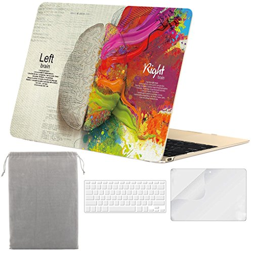 Sykiila - Compatible MacBook 12 inch Case Hard Cover 4 in 1 Folio Case + HD Screen Protector + TPU Keyboard Cover + Sleeve 12 Retina Display (Model: A1534) - Left Right Brain by Sykiila