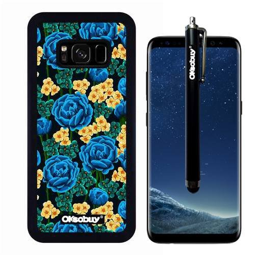 Galaxy S8 Case, Blue Roses Camo Case, OkSoBuy Ultra Thin Soft Silicone Case for Samsung Galaxy S8 - Blue Roses Camo - Glory Pink Salmon