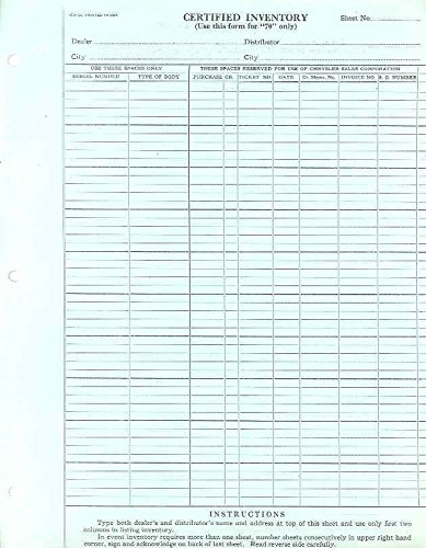 amazon com 1930 chrysler model 70 dealer inventory list form