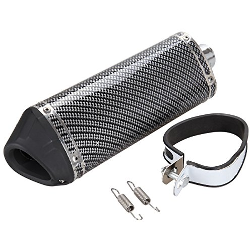 Silencer Atv Exhaust (Iglobalbuy 38mm Motorcycle Scooter Exhaust Muffler Pipe W/ Movable Silencer Carbon fiber)