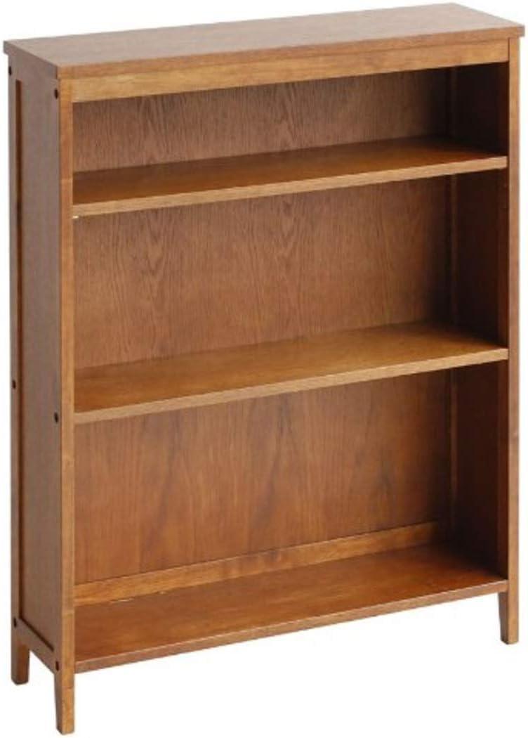 本棚 スリム 木製 3段 うす型 収納 ディスプレイ あしつき 70cm幅 アンティーク ブラウン