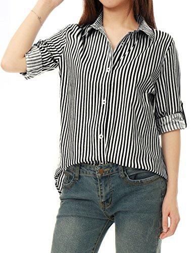 - Allegra K Women's Vertical Stripes Button Down Long Roll up Sleeves Shirt Black S (US 6)
