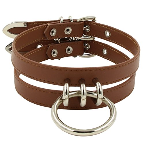 Handmade Womens Double Leather Straps O Ring Choker Necklace