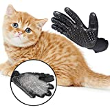 Pet Grooming Gloves Deshedding Brush Glove Pet Hair Removal Glove for Dogs/Cats/Horses Long&Short Fur With Soft Rounded Nubs Five Finger Design Removes Pet Hair,Bathing Shedding Massage Tool for Pet