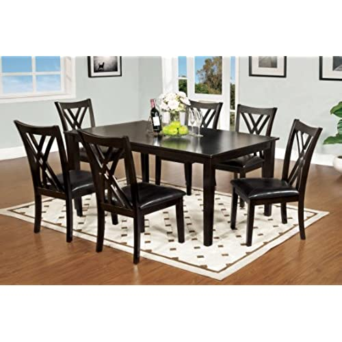 Furniture Of America 7 Piece Hearst Rectangular Dining Table And Chair Set,  Espresso Finish