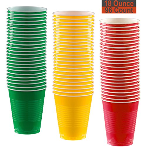 (18 oz Party Cups, 96 Count - Festive Green, Sunshine Yellow, Red - 32 Each)