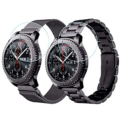 CAGOS Galaxy Watch 46mm/Ticwatch Pro Bands, Stainless Steel Metal + Mesh Loop Strap Replacement Band for Samsung Galaxy Watch 46mm/Gear S3 ...