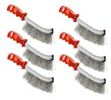 6x10 chimney brush - YXQ Stainless Steel Scratch Wire Brush 10-inch Long with Red Plastic Curved Handle 6-piece
