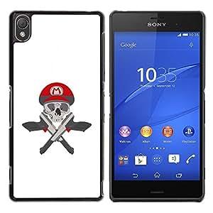Be Good Phone Accessory // Dura Cáscara cubierta Protectora Caso Carcasa Funda de Protección para Sony Xperia Z3 D6603 / D6633 / D6643 / D6653 / D6616 // M Guns Game Pistols Skull Wh