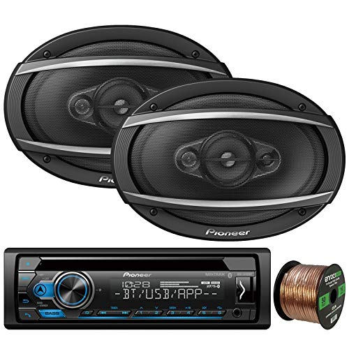 Pioneer DEH-S4100BT in-Dash Single-DIN CD Player Bluetooth Receiver, 2 x Pioneer TS-A6960F 6x9 4-Way 450W Car Audio Speakers, Enrock Audio 16-Gauge 50Ft. CCA Speaker Wire ()