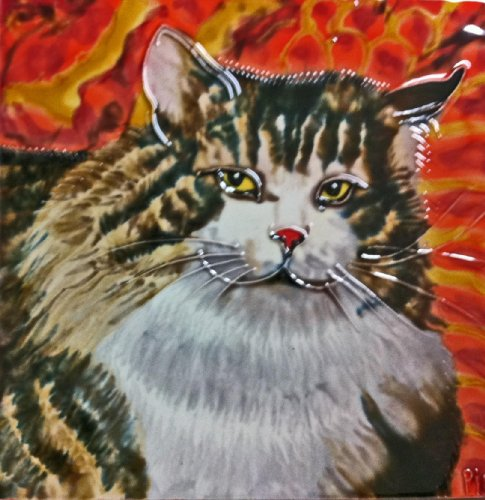 Continental Art Center BD-0381 8 by 8-Inch Fury Cat Ceramic Art (Cat Tile Coaster)