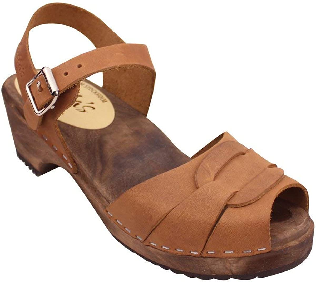 Lotta From Stockholm Swedish Low Peep Toe Clogs in Brown Oiled on Brown Base