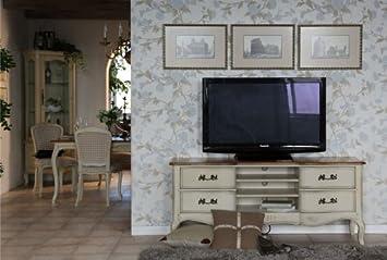 Tv bank holz vintage  TV-Unterschrank Vintage weiß massiv Holz Birke Antik Holz Moebel ...