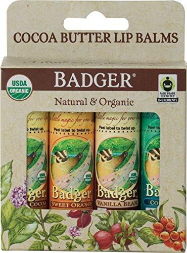 Badger Fair Trade Cocoa Butter Lip Balm - 4 Pack