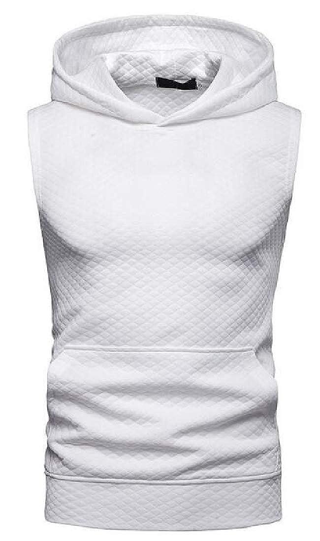 KLJR Men Hooded Athletic Hip Hop Solid Short Sleeve Tank Top Shirts