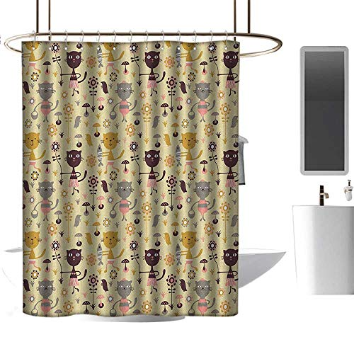 Proof Squirrel Flowers (TimBeve Shower Curtain for Bathroom Cat,Feline Animals Holding Fish and Flowers in Childish Forest with Mushroom and Squirrels, Multicolor,Metal Rust Proof Grommets Bathroom Curtain 47