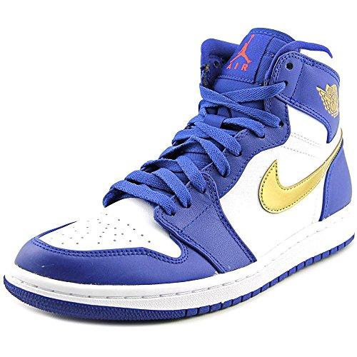 Nike Mens Air Jordan 1 Retro High Basketball Shoe Deep Royal Blue/Mtlc Gold Coin-White 10.5