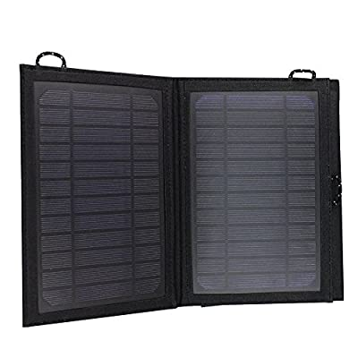 COCO Universal 7W 1-Port USB Portable Foldable Outdoor Survival Solar Battery Charger panel Power Bank PowerPort Waterproof Monocrystalline Silicon for iPhone,Tablets,Gopro Camera,Other 5V USB devices