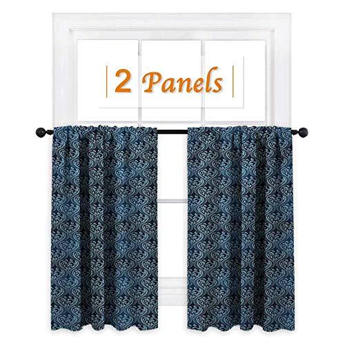 (shenglv Victorian Decor Curtains by Ornamental Renaissance Flourish with Venetian Design in Blue Shades Room Darkening Wide Curtains W63 x L72 Dark Blue and Pale Blue)
