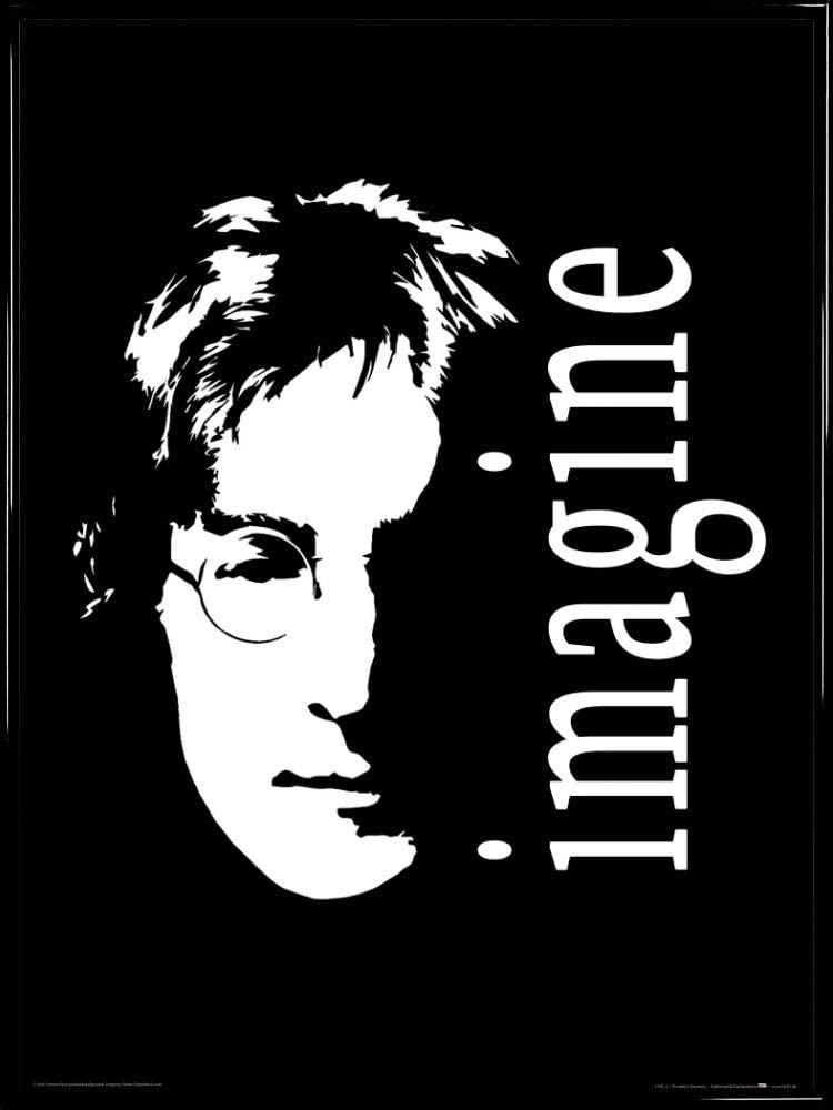 Amazon Com 1art1 John Lennon Imagine Poster Art Print 32 X 24 Inches And Frame Plastic 31 X 24 Inches Kitchen Dining