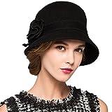 Maitose™ Women's Wool Felt Flowers Church Bowler Hats Black