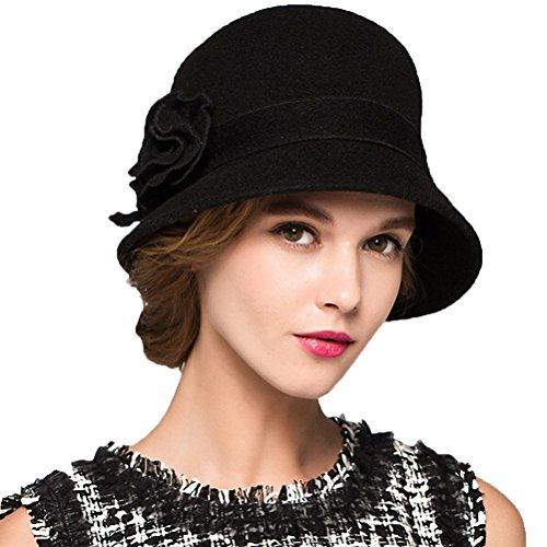 - Maitose&Trade; Women's Wool Felt Flowers Church Bowler Hats Black