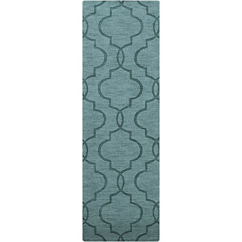 Surya Mystique M-5181 Transitional Hand Loomed 100% Wool Slate Blue 2'6'' x 8' Runner by Surya