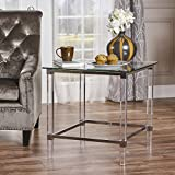 Orson Acrylic and Tempered Glass Square Side Table For Sale