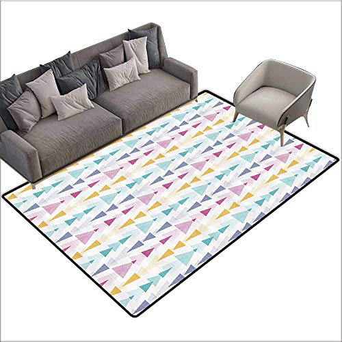 - Bedroom Living Room Area Rug Abstract,Ikat Style Textured Geometric Arrow Stripes Tribal Inspired Soft Pastel Design,Multicolor 80