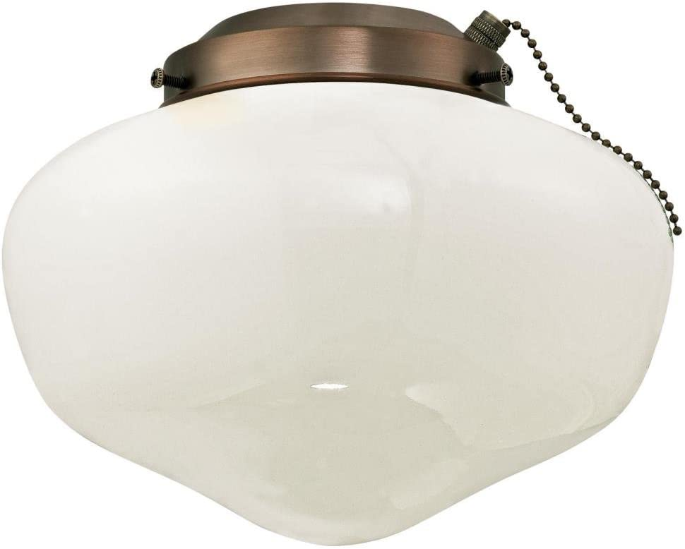 Westinghouse Lighting 7781700 Schoolhouse Indoor/Outdoor 4-Inch Fitter Ceiling Fan Light Kit, Oil Brushed Bronze with White Opal Glass Shade