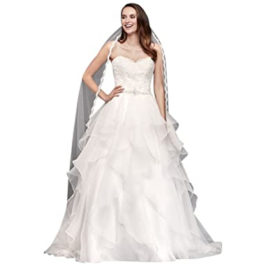 David\'s Bridal Lace and Organza Wedding Ball Gown with Beading Style ...