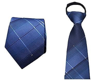 Men's Zipper Necktie Pre Tied Business Navy Blue Wedding Neckwear Prom