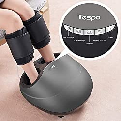 Shiatsu Foot Massager Machine with Heat - Tespo Deep Kneading Therapy, Foot & Leg Air Compression, Relieve Foot Pain from Plantar Fasciitis, Improve Blood Circulation